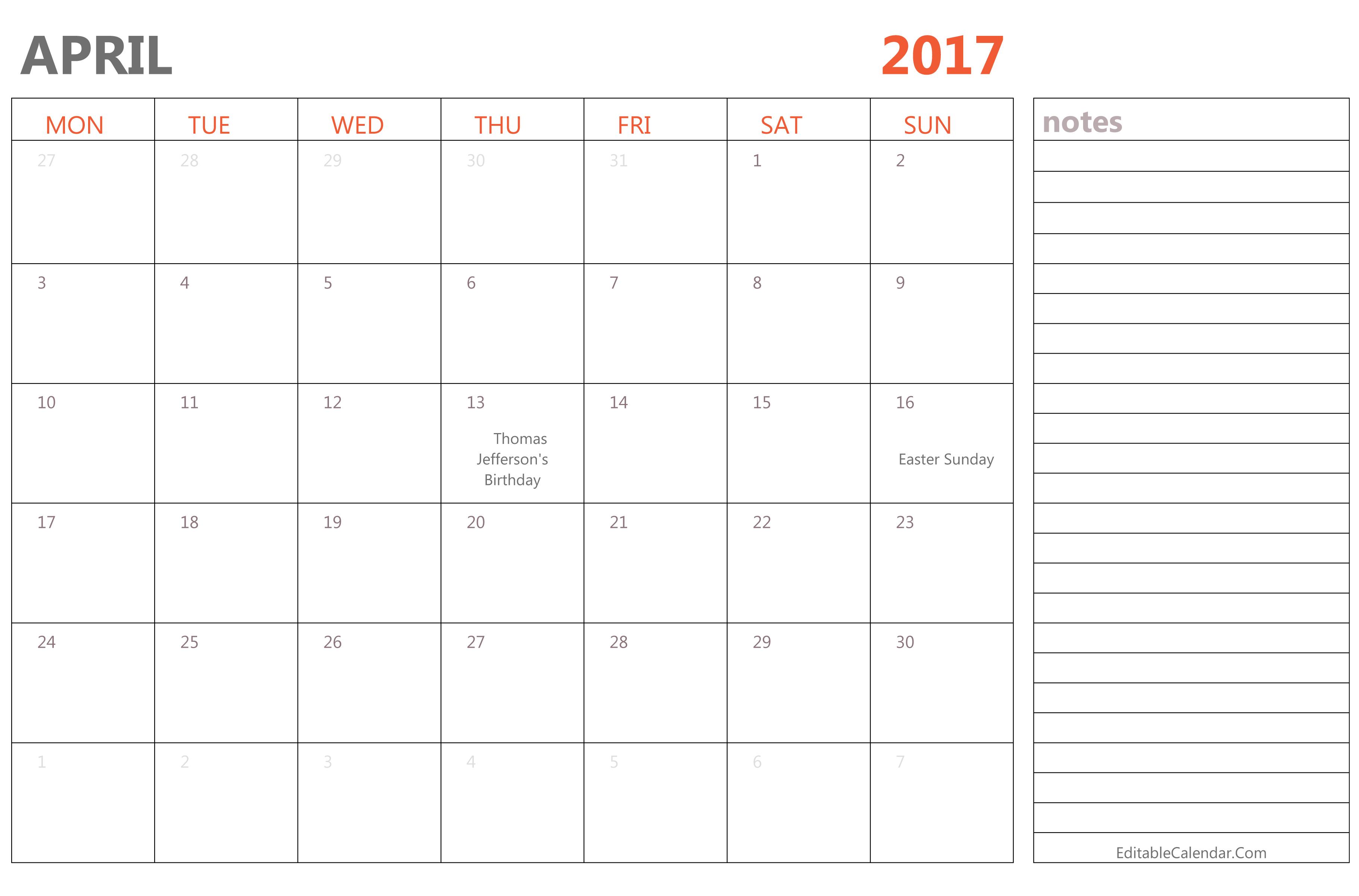 editable april 2017 calendar template ms word