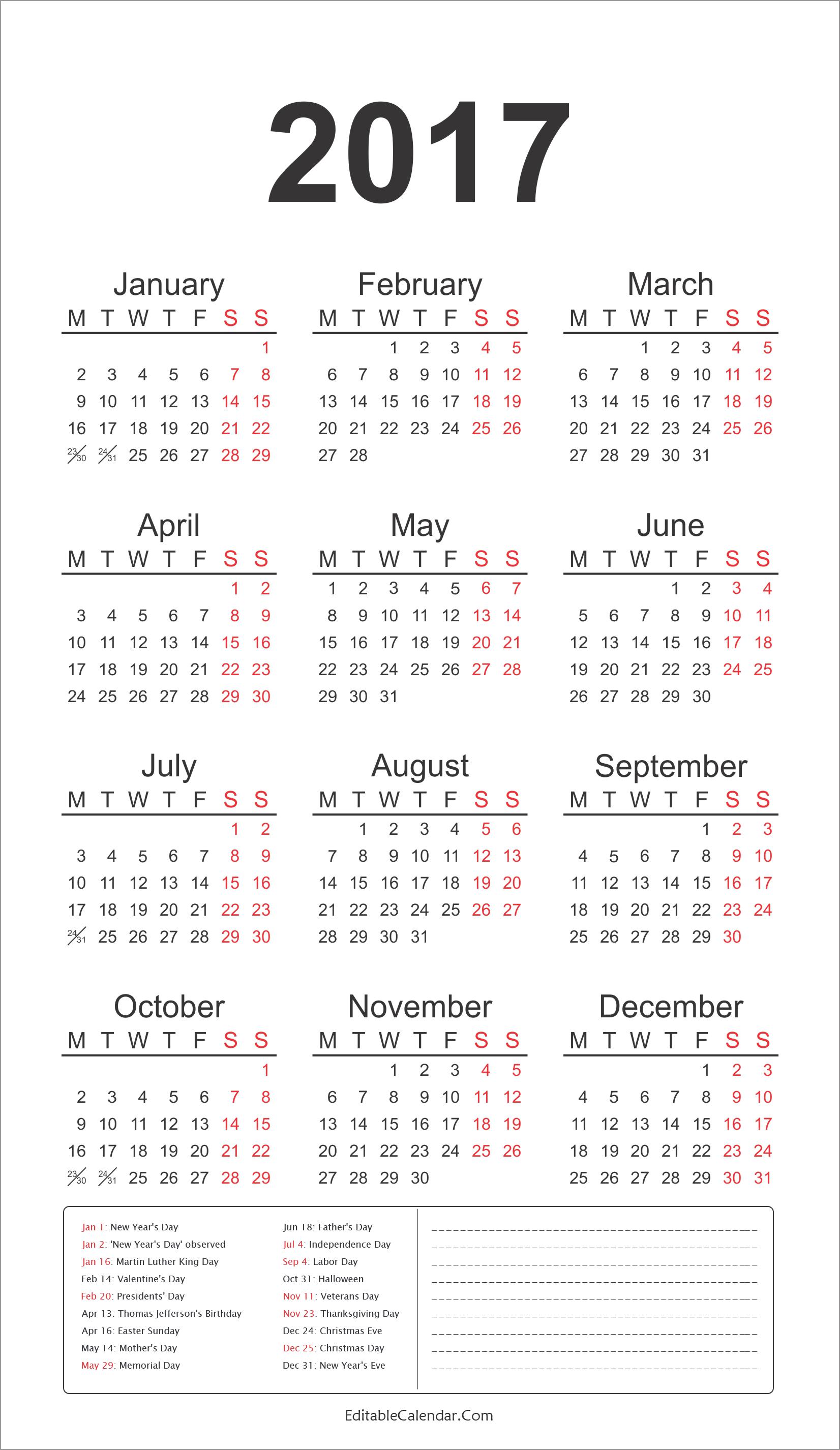 2017 16 year calendar