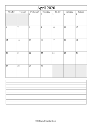 2020 calendar april with holidays and notes portrait