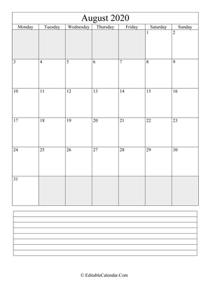 2020 calendar august with holidays and notes portrait