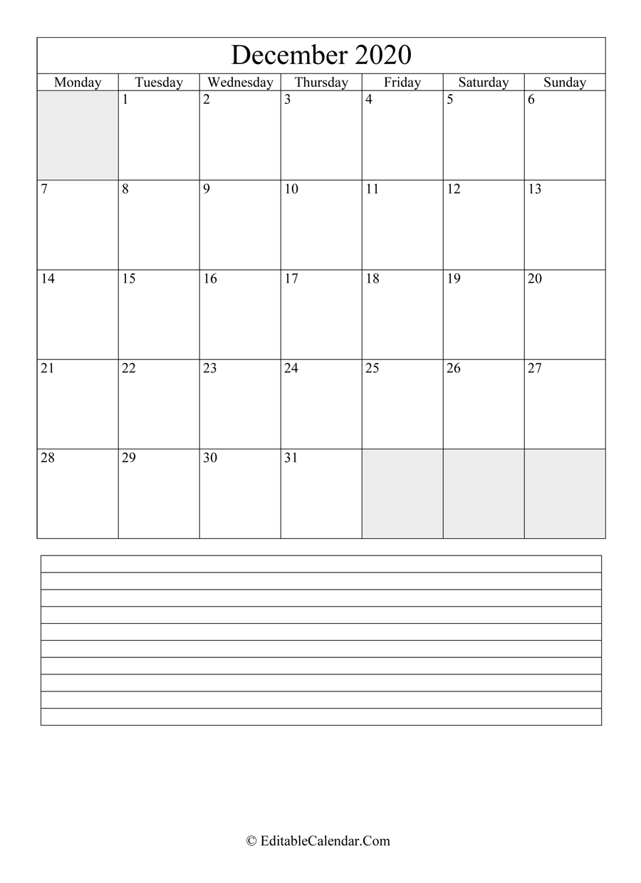 2020 calendar december with holidays and notes portrait