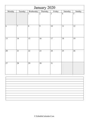 2020 calendar january with holidays and notes (portrait layout)