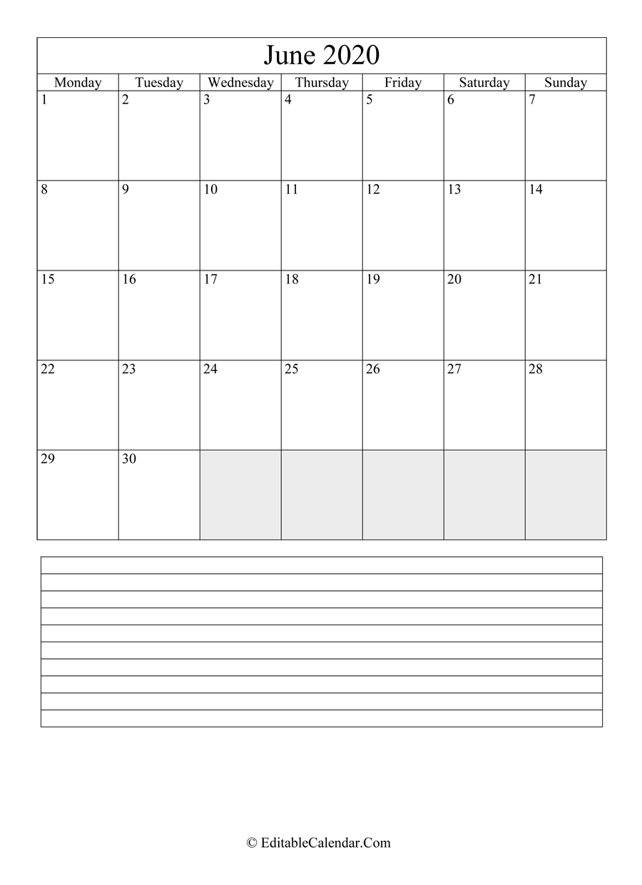 2020 calendar june with holidays and notes portrait