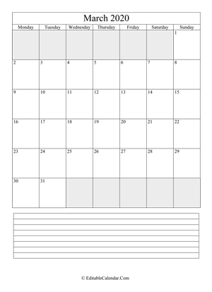 2020 calendar march with holidays and notes portrait