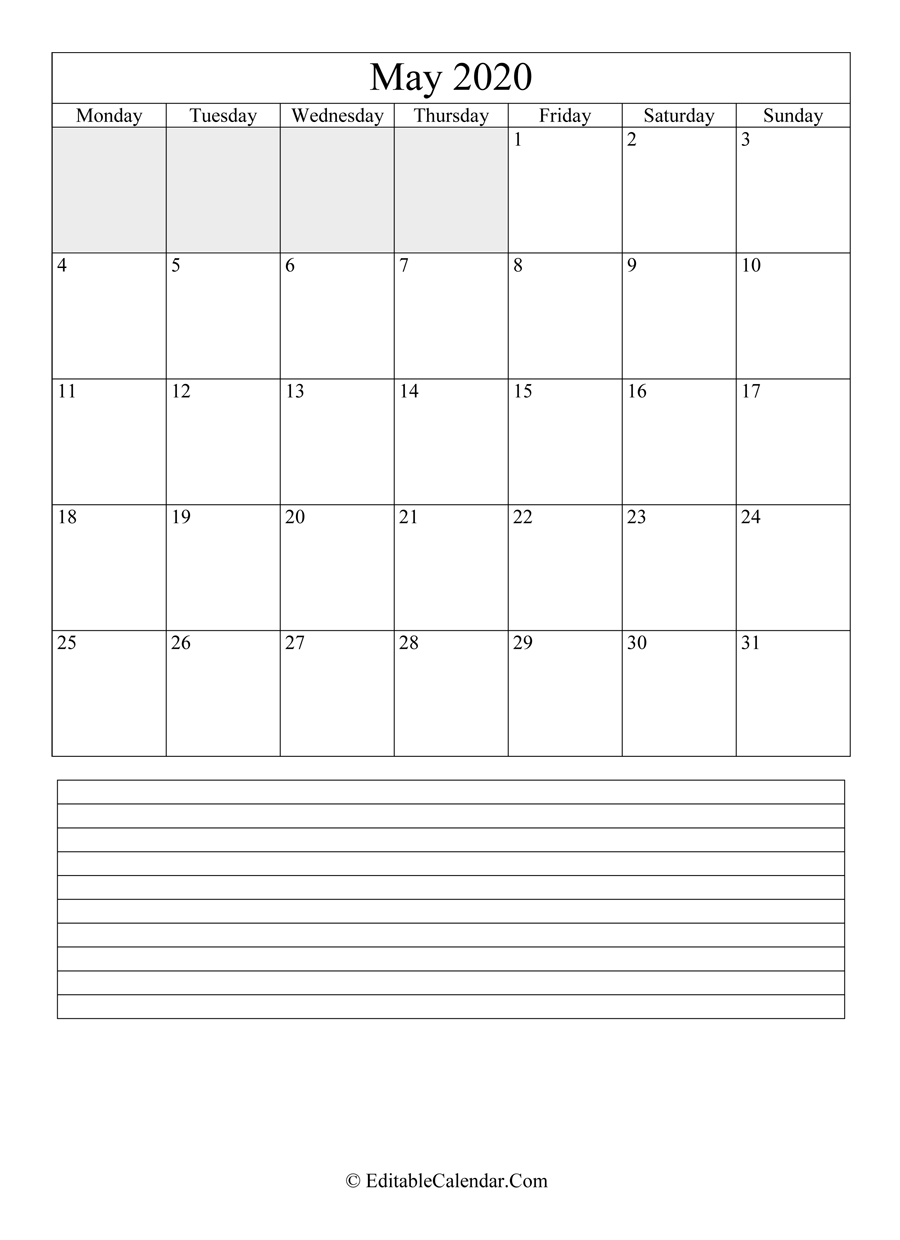 2020 calendar may with holidays and notes portrait
