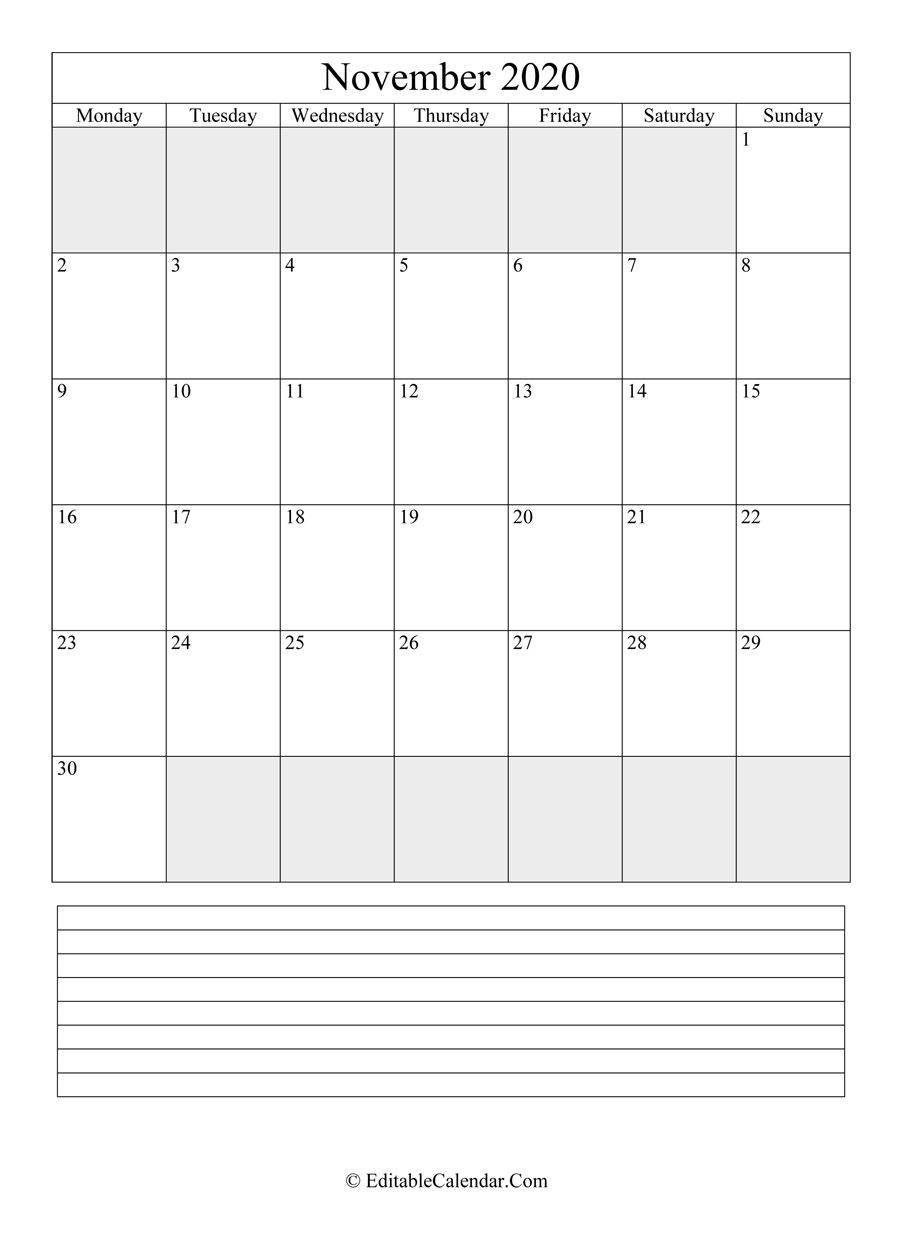 2020 calendar november with holidays and notes portrait