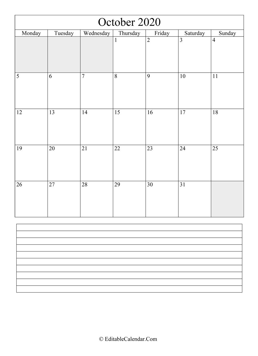 2020 calendar october with holidays and notes portrait