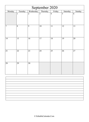 2020 calendar september with holidays and notes portrait