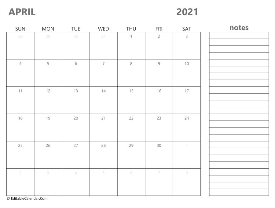 April 2021 Calendar Templates
