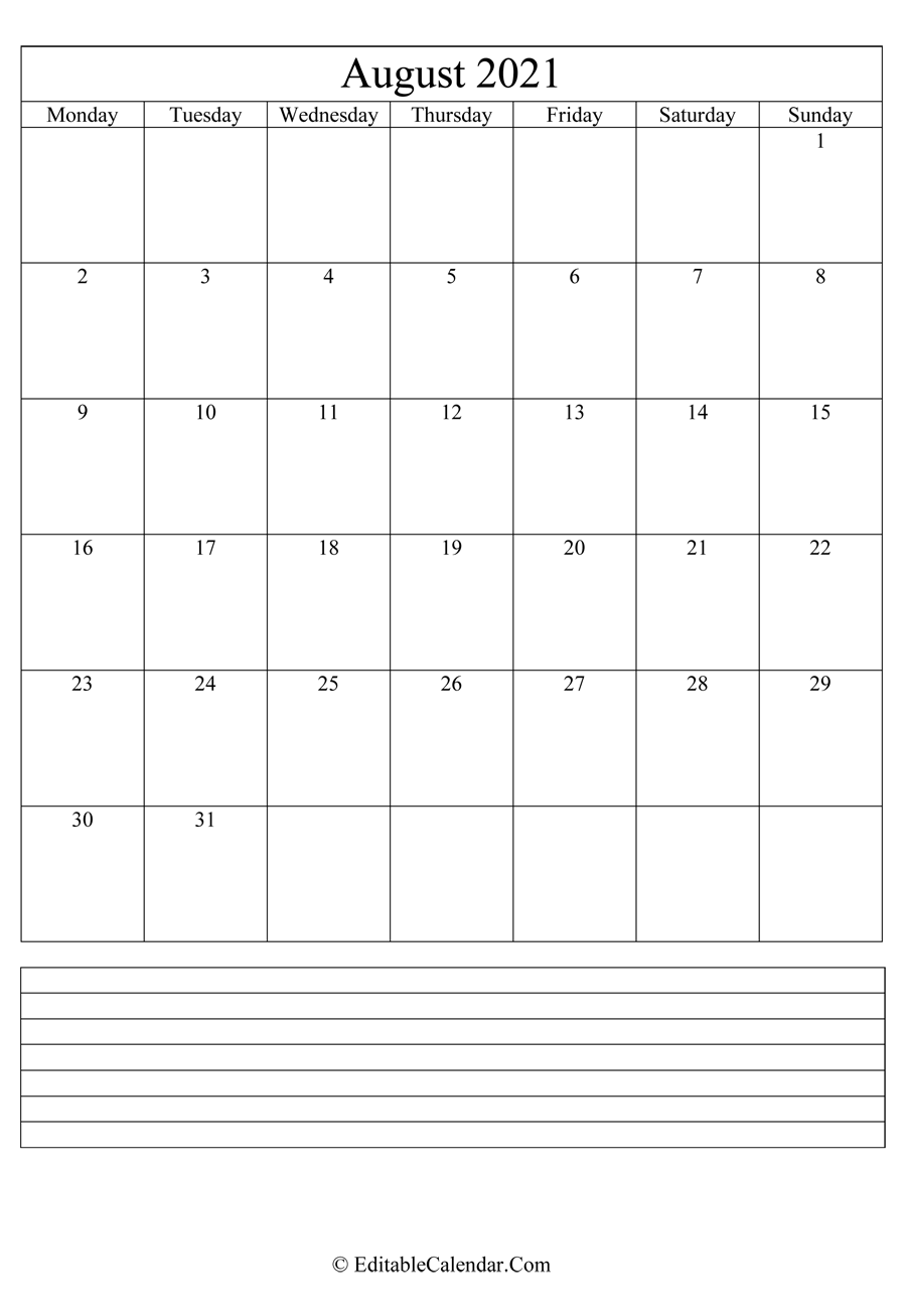 2021 calendar august with holidays and notes portrait