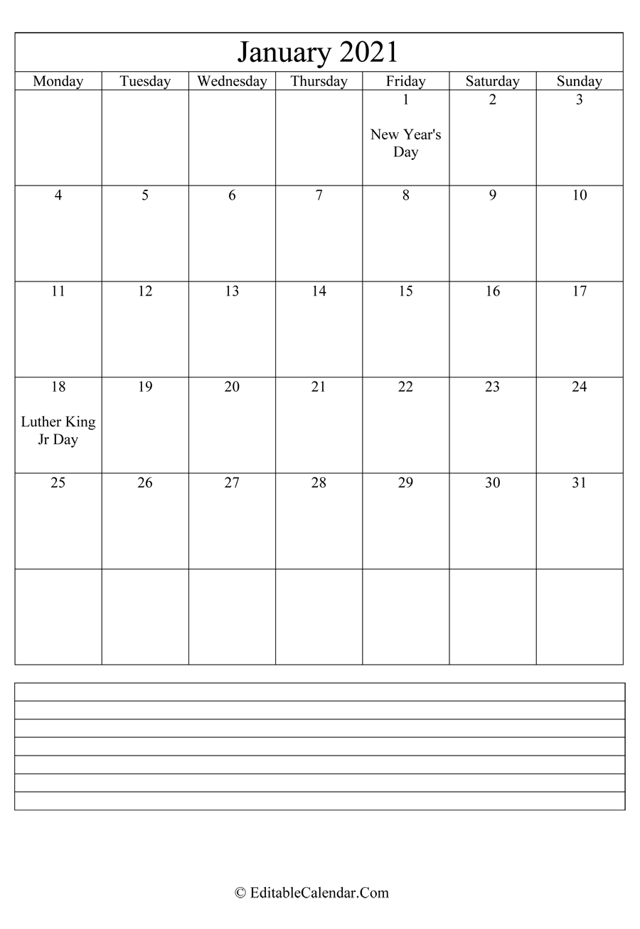 2021 calendar january with holidays and notes portrait