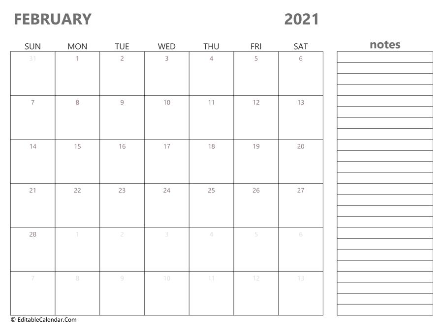 February 2021 Calendar Templates