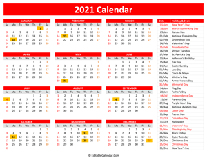 2021 printable calendar holidays red style