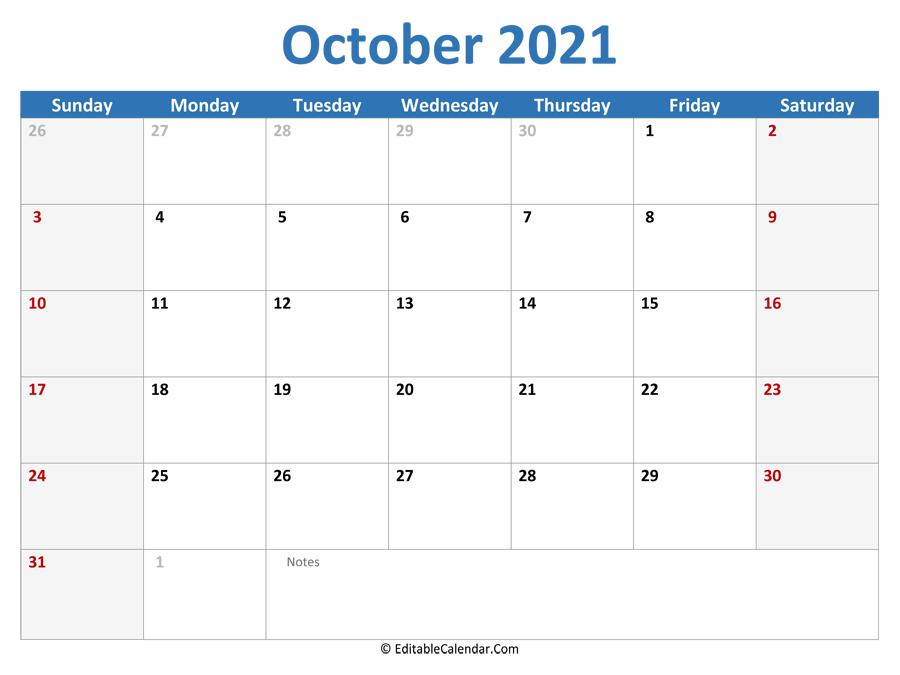 October 2021 Calendar Templates