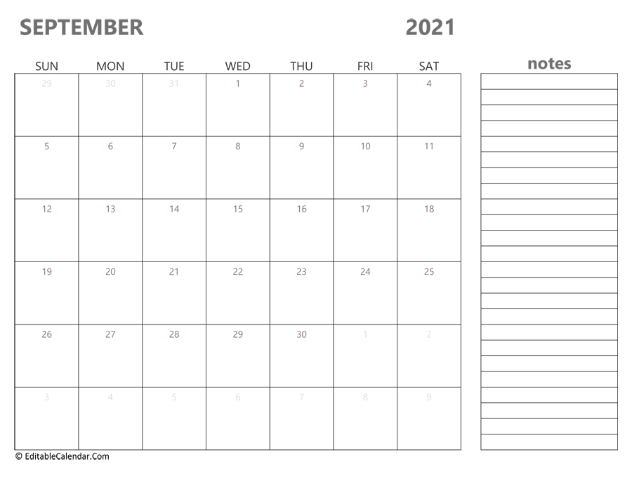 September 2021 Calendar Templates