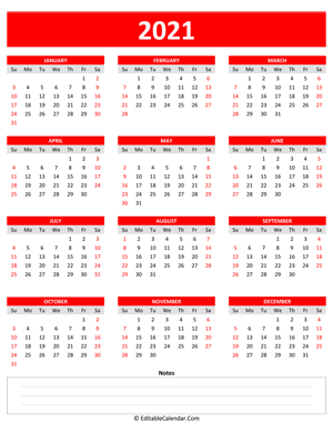 2021 yearly calendar notes portrait red style