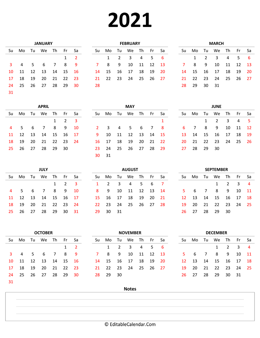 2021 yearly calendar notes portrait