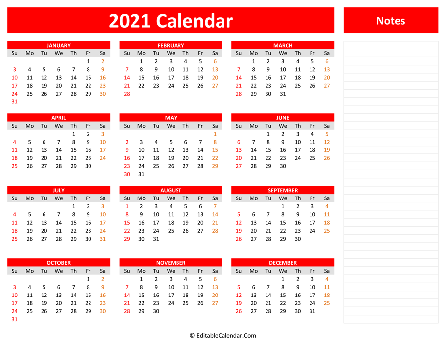 2021 Yearly Calendar with Notes