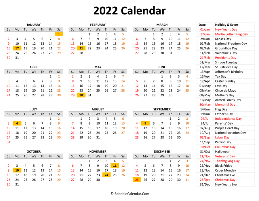 2022 Printable Calendar with Holidays
