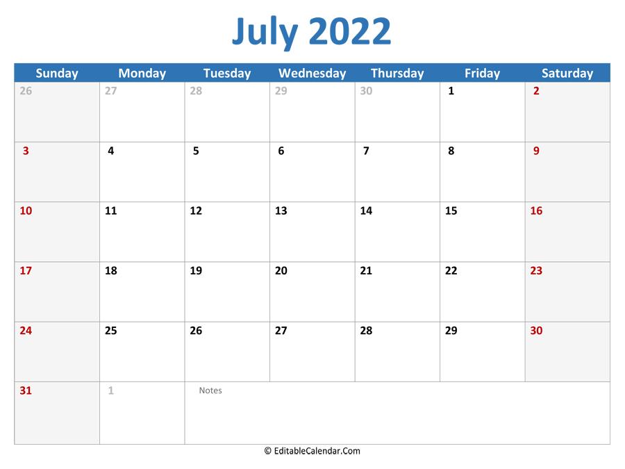 July 2022 Printable Calendar with Holidays