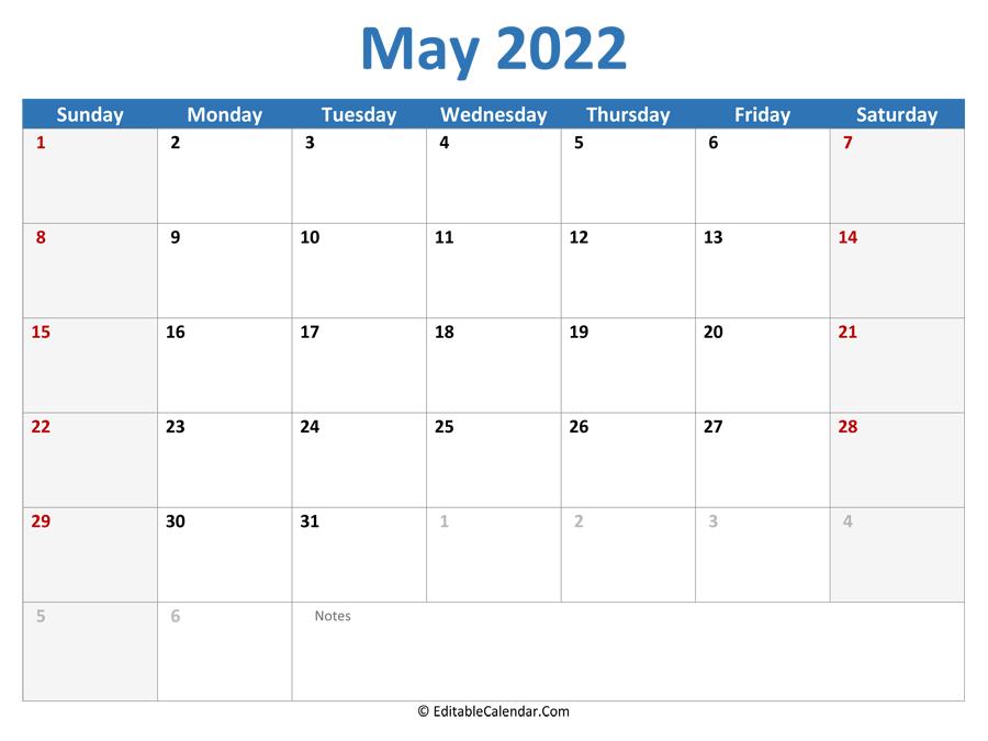 Download 2022 Printable Calendar May (Word Version)