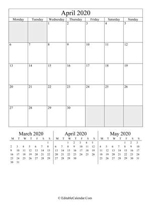 april 2020 editable calendar portrait