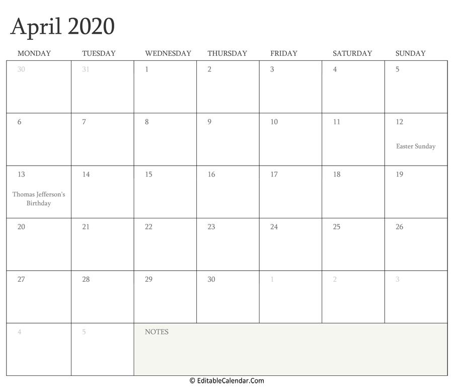April 2020 Calendar Templates