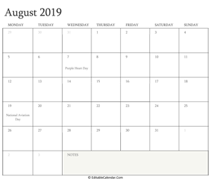 august 2019 editable calendar with holidays