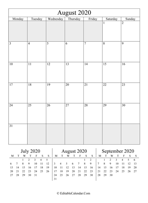 august 2020 editable calendar portrait