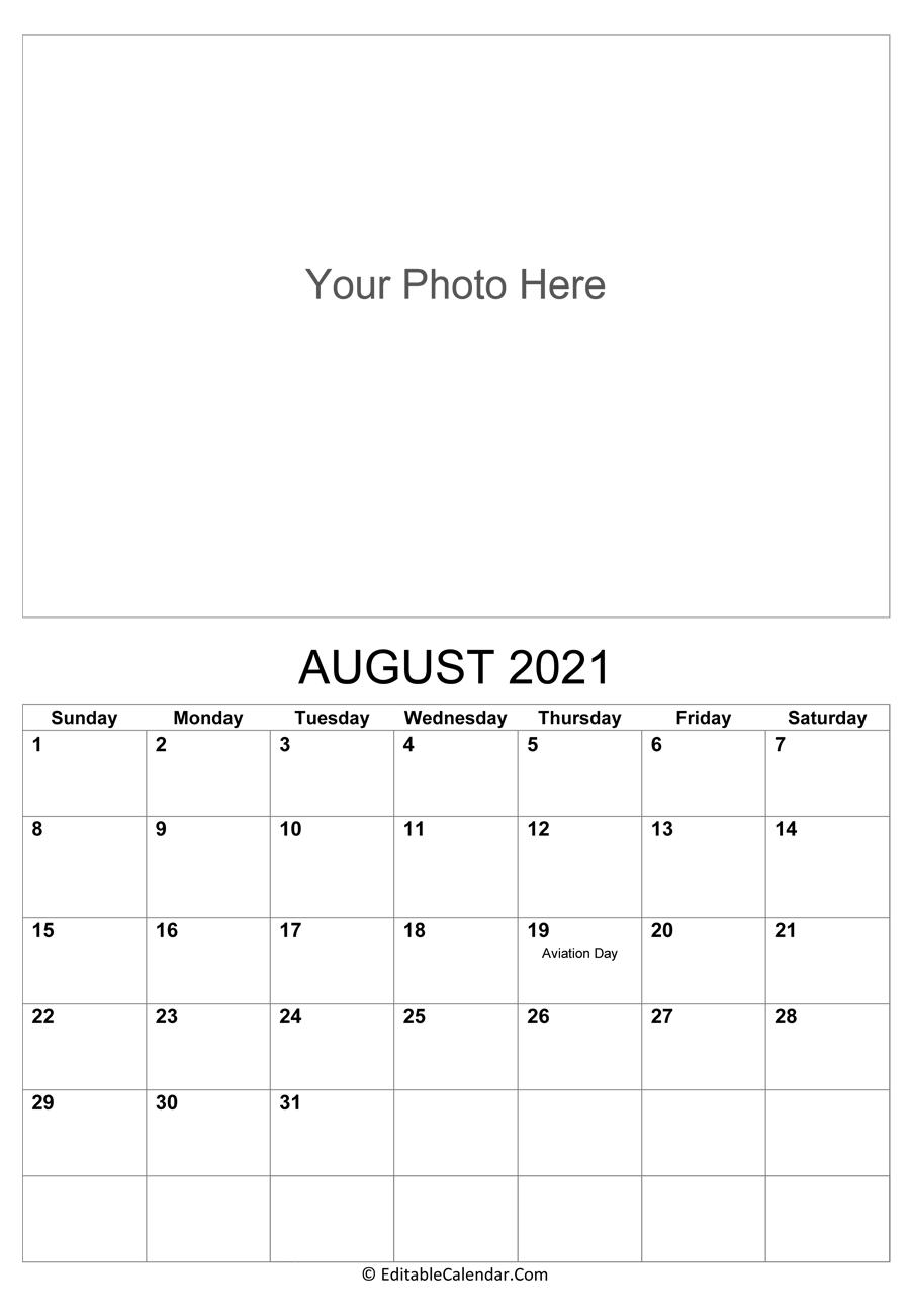 August 2021 Calendar Templates
