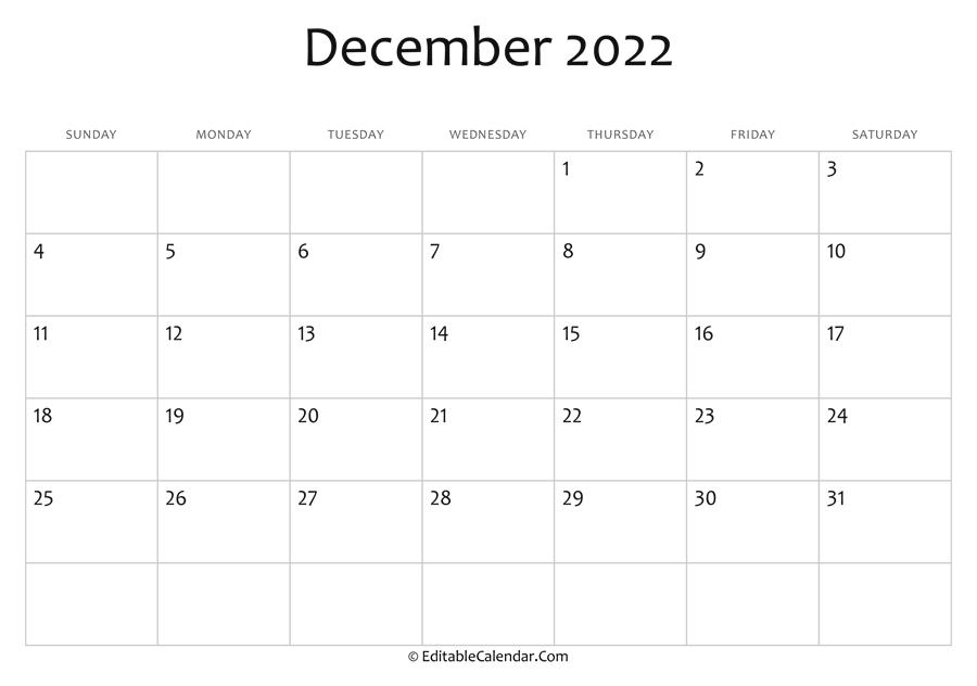 Editable Calendar December 2022.December 2022 Calendar Templates