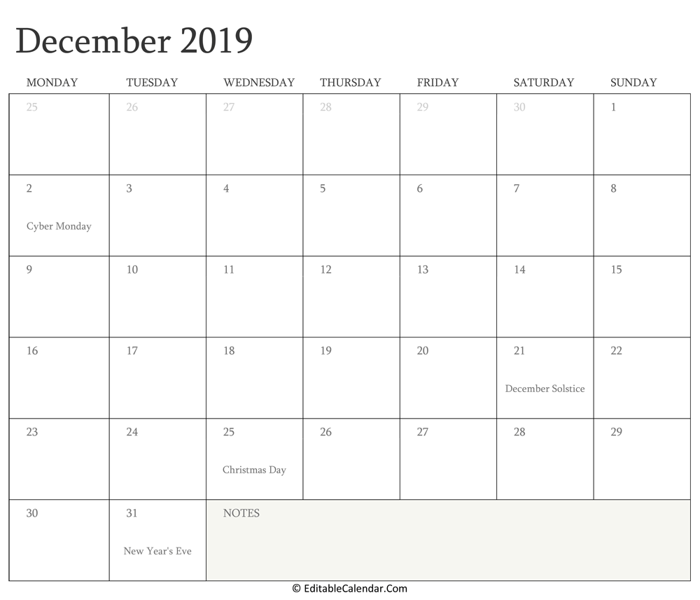 December 2019 Editable Calendar with Holidays