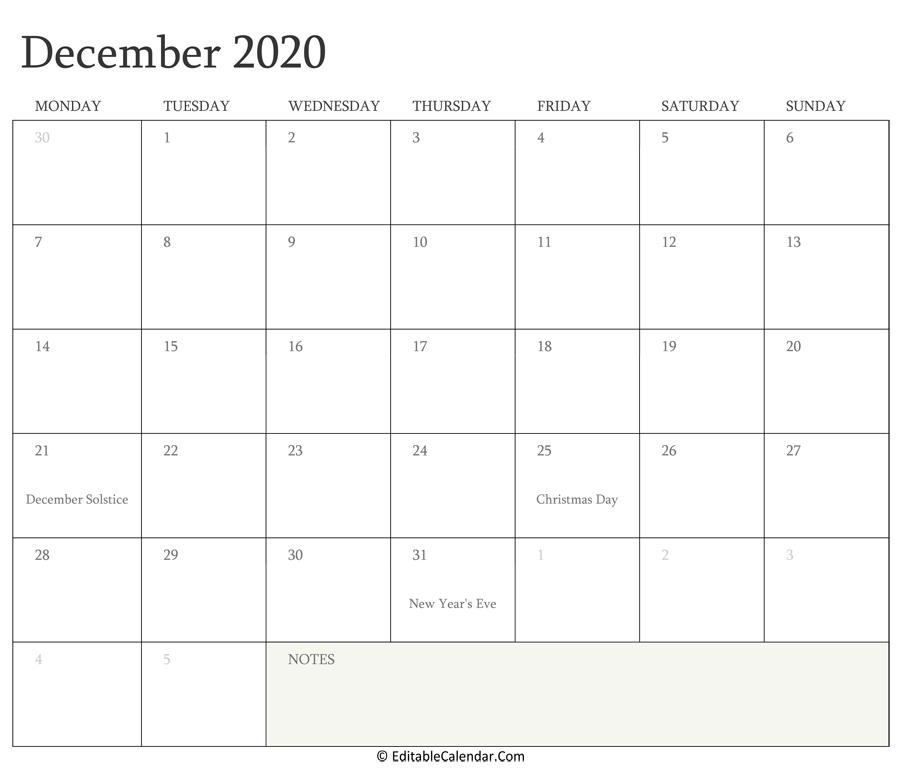 Editable Calendar December 2020