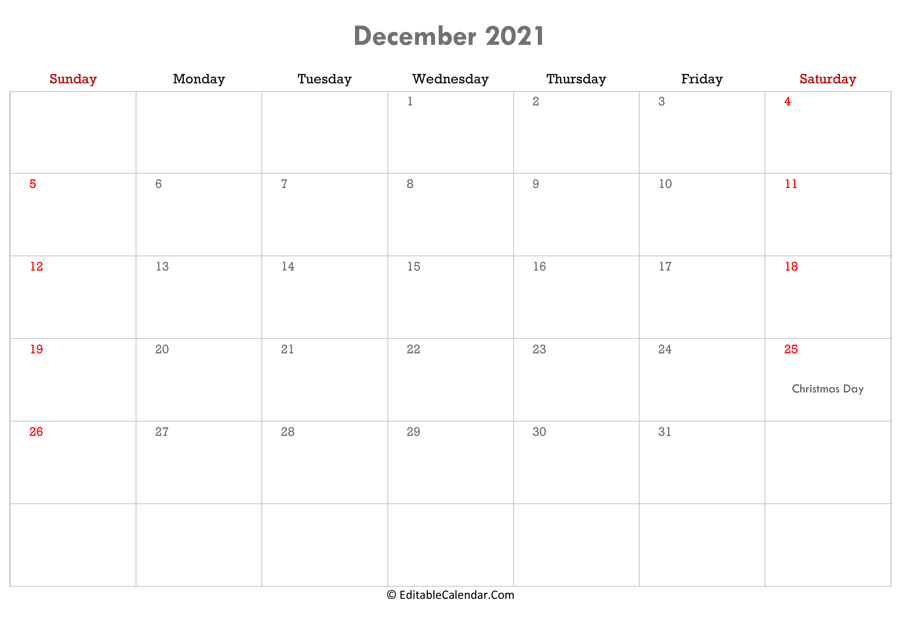 December 2021 Calendar Templates