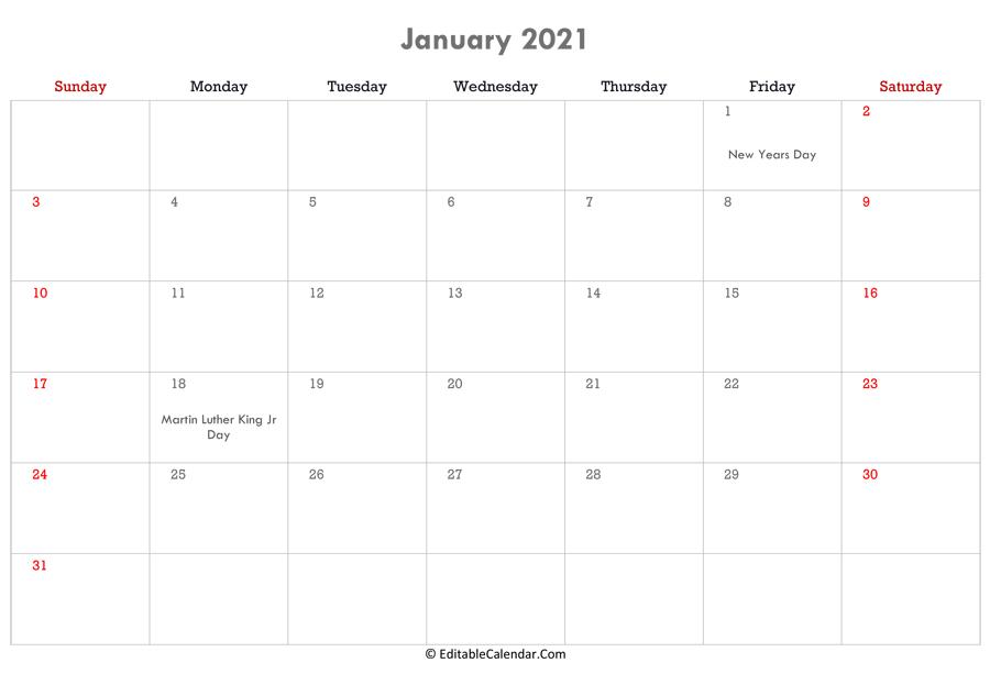 Editable Calendar 2021, 2022