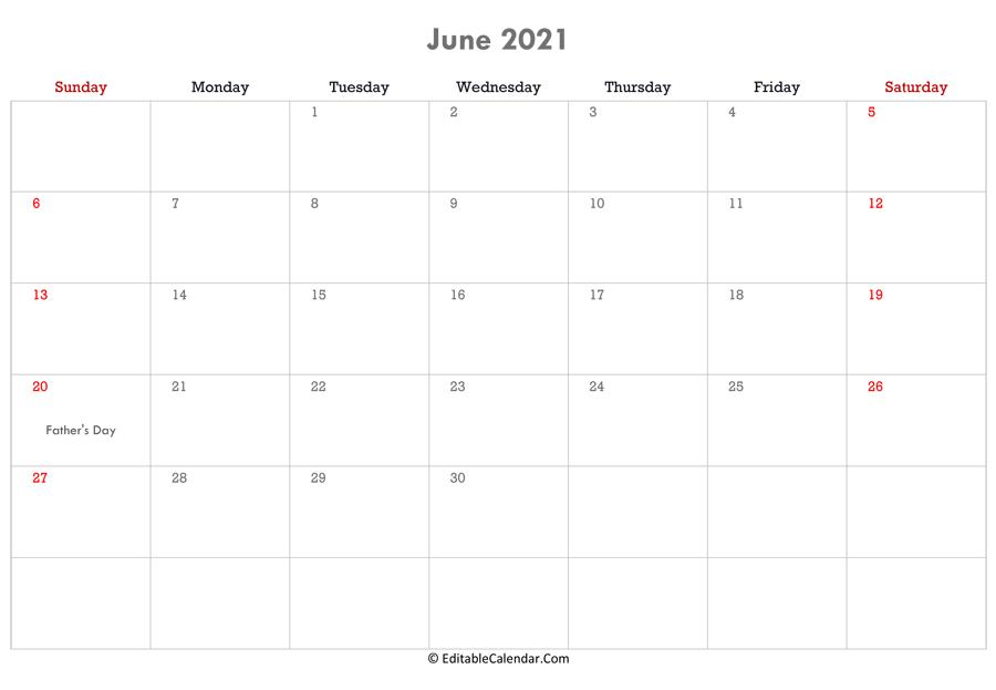 Editable Calendar 2021 2022