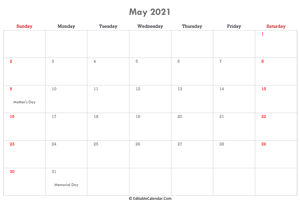editable calendar may 2021 with notes