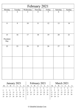 february 2021 editable calendar (portrait layout)