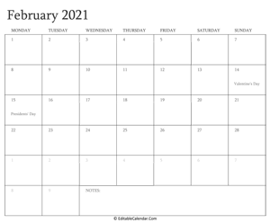 february 2021 editable calendar with holidays