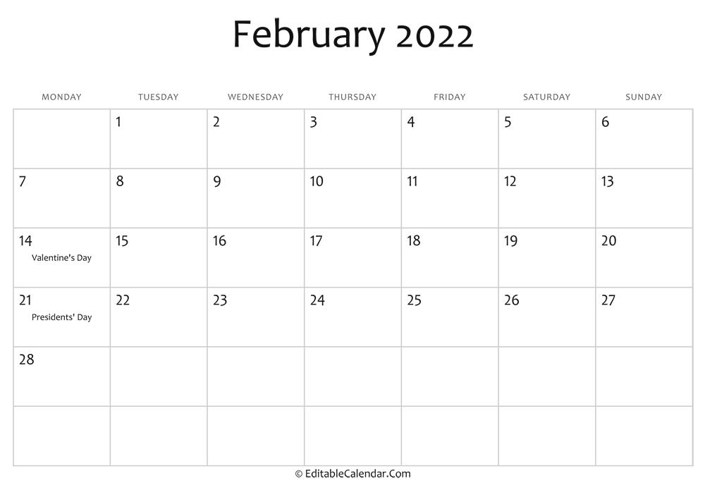 Calendar Template February 2022.February 2022 Calendar Templates