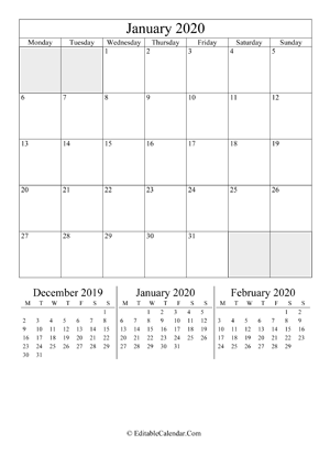january 2020 editable calendar (portrait layout)