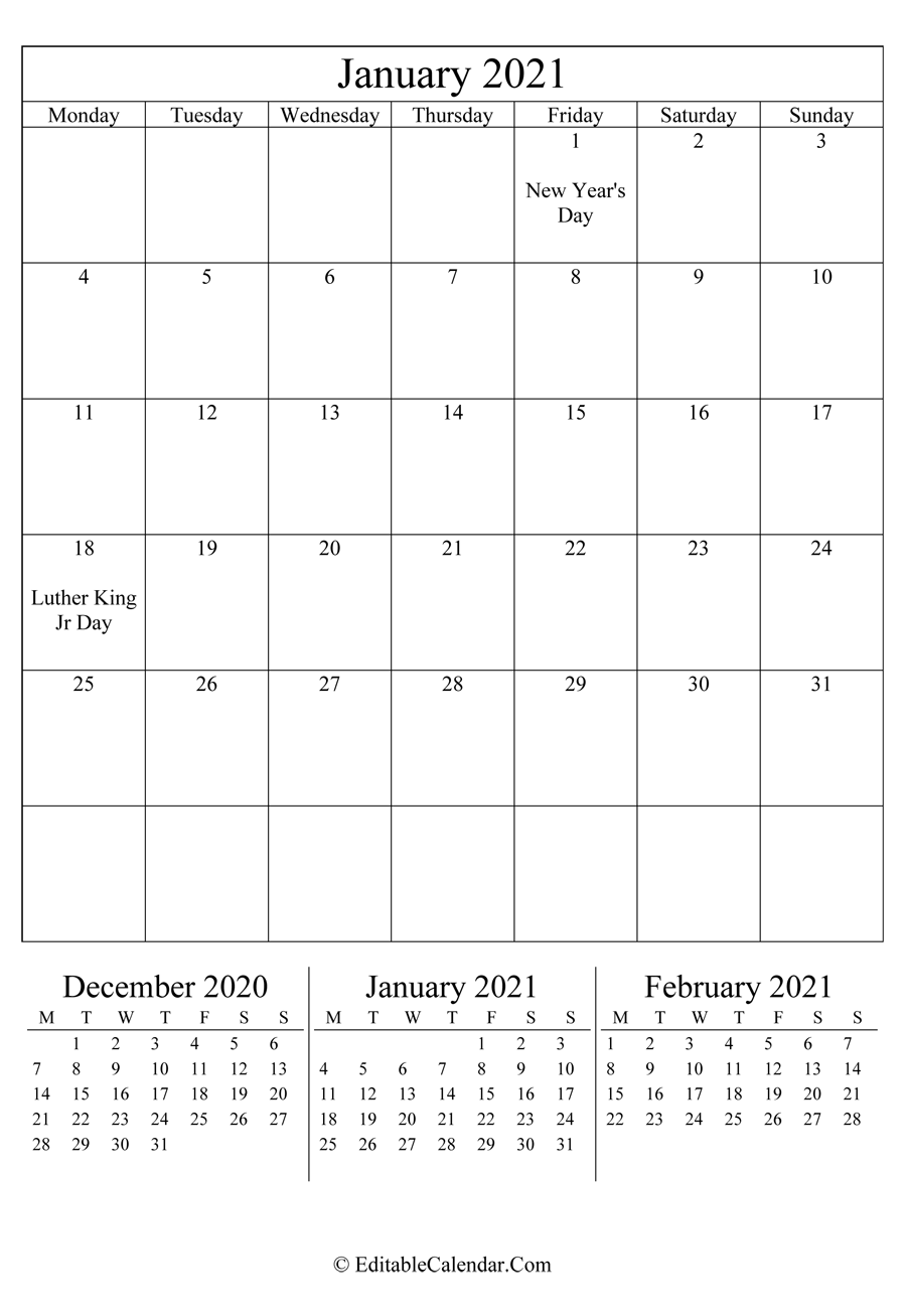 January 2021 Calendar Templates