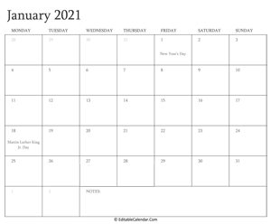 january 2021 editable calendar with holidays