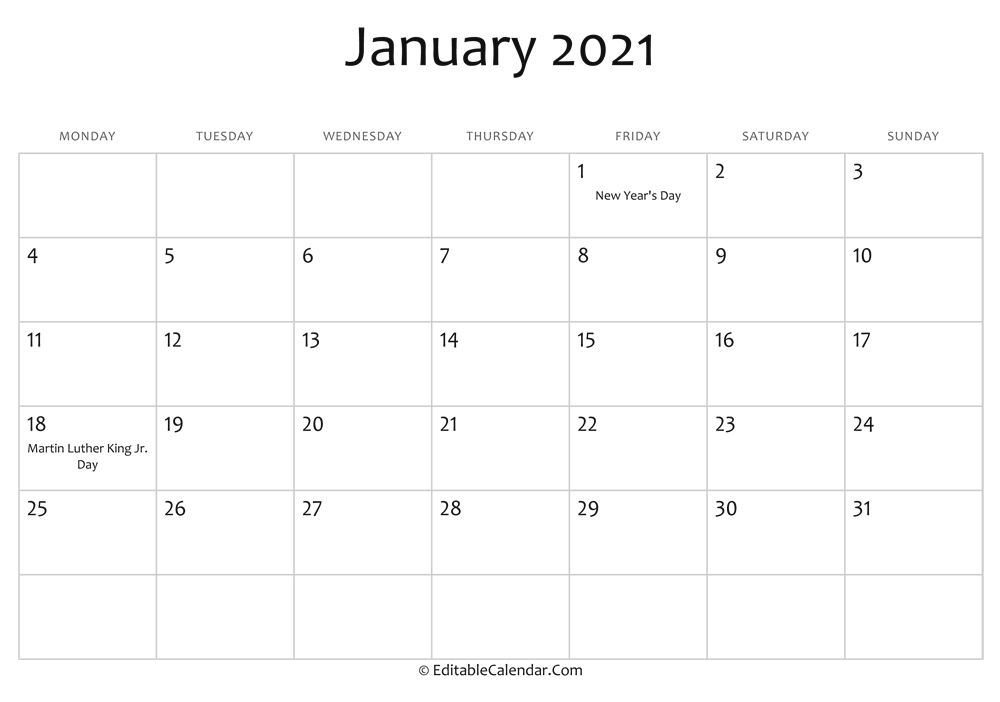 january 2021 printable calendar holidays