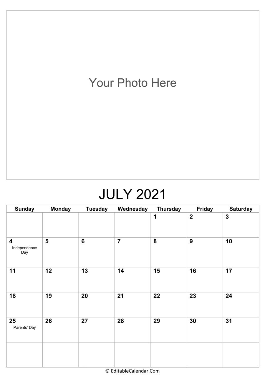July 2021 Calendar Templates