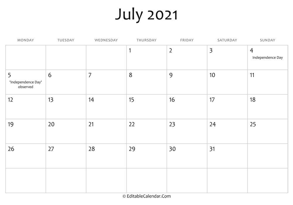 July 2021 Printable Calendar with Holidays