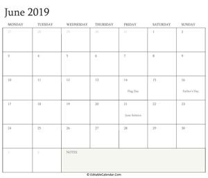 june 2019 editable calendar with holidays