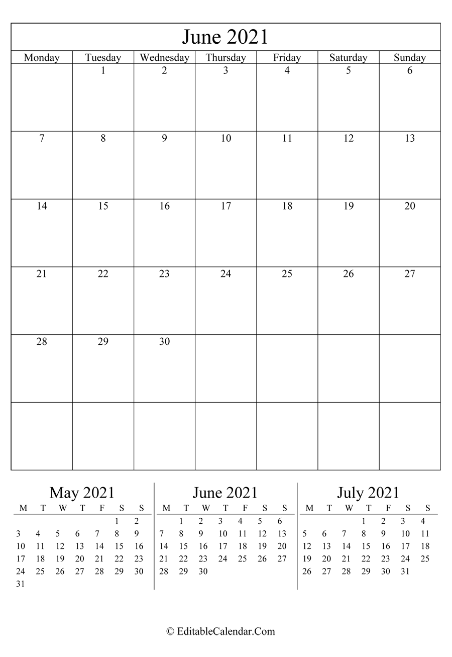 june 2021 editable calendar portrait