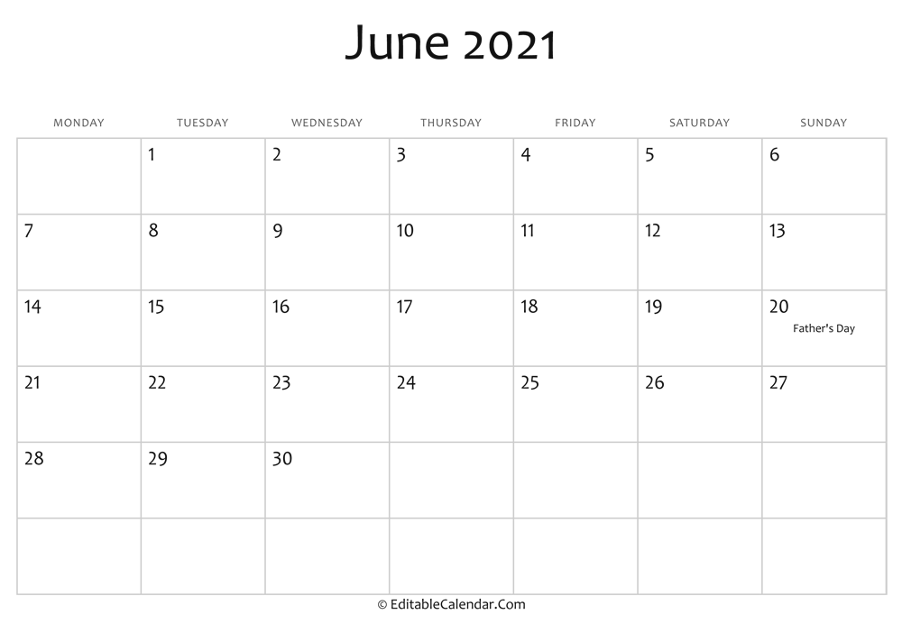 june 2021 printable calendar holidays