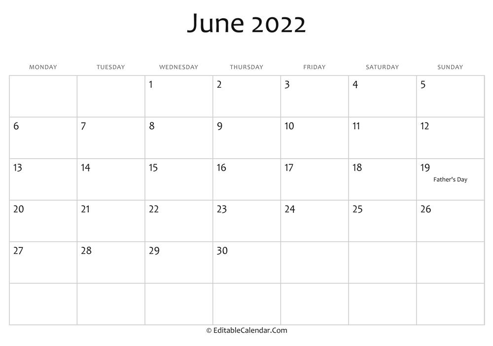 Calendar 2022 June July August.June 2022 Calendar Templates